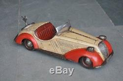 Vintage Wind Up Distler Wandere D-3150 Litho Car Tin Toy, Germany