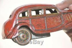Vintage Wind Up T. T Trademark Red Litho Sedan Car Tin Toy, Japan