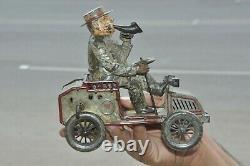 Vintage Wind Up Tut Tut Lehmann Litho Car/Jeep Tin Toy, Germany