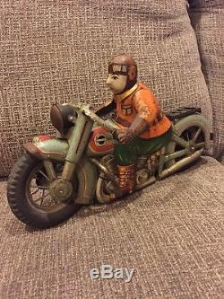 Vintage Yonezawa 15 Harley-Davidson Japan Tin Motorcycle Bike Car Toy