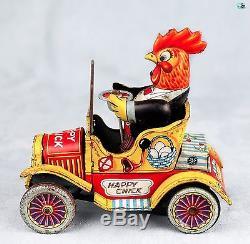 Vintage Yonezawa Japan 1957 Tin Toy Happy Chick Friction Powered Car