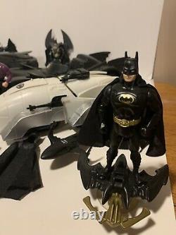 Vintage action figure mix lot 80s 90s Batman Animated toys Bat Mobile Car Kenner