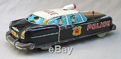 Vintage tin friction Police Car with Box - Japan Mitsuhashi & co. Nice