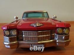 Vintage tin toy car. Bandai. Japan. Cadillac 17.5 inches. Friction. Works