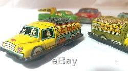 Vintage tin toys cars Fire Dpt Ambulance Crane Coal Lot