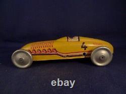 Vintage very rare tin toy race car BUGATTI JEP number 4 France 1920's PARIS