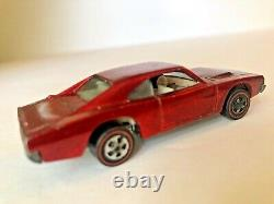 Vtg 1.64 Mattel Hot Wheelscustom Red Dodge Charger 1968 Redlinediecast Toy Car