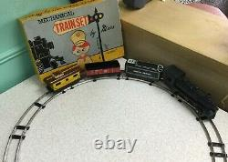 Vtg 40s 50s MARX MECHANICAL TRAIN SET Wind Up Tin Litho Toy In Box Track 3 Cars