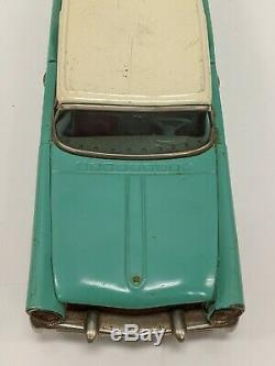 Vtg Bandai Japan 11.5 Turquoise Lincoln Continental Tin Friction Drive Toy Car