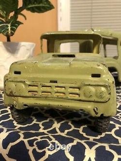 Vtg Buddy L Car Carrier Hauler Transport Truck Pressed Steel Toy 1960s