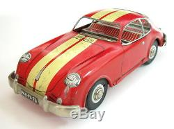 Vtg Rare Early French Tin Friction Toy Car Porsche 356 France Made Joustra