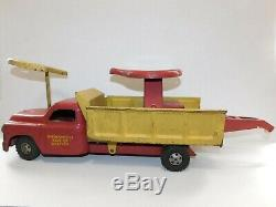 Vtg Structo Pressed Steel Metal Ride-er Wrecker Truck Pedal Car Toy