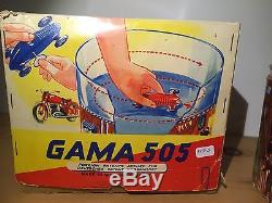 Western Germany Gama Dare Devill Race Insane Rare Wind Up Tin Toy Race Car Boxed