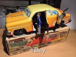 Western Germany Wind Up Tin Car Stops, Driver Comes Out, Drive Away Orig. Box