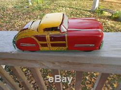 WYANDOTTE CONVERTIBLE WOODY TOY CAR/YELLOW ROOF/PRESSED STEEL WithORIGINAL BOX