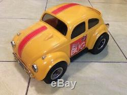Yellow COX Baja Bug 73 with Engine Paperwork VW Car Vintage Tether Toy NICE LQQK