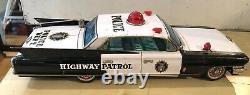 Yonezawa Tinplate Friction Cadillac Police Patrol Car- Japan 1961